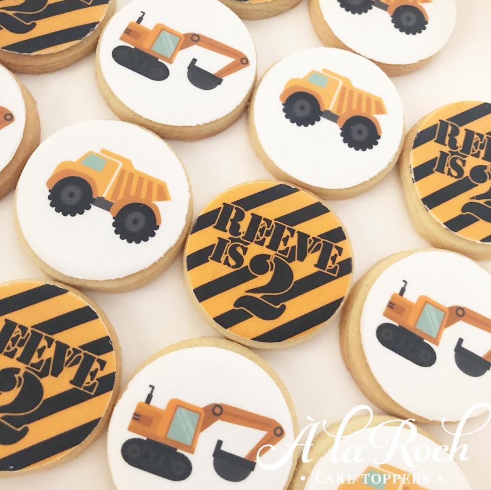 Construction Edible Image Kids Sugar Cookies